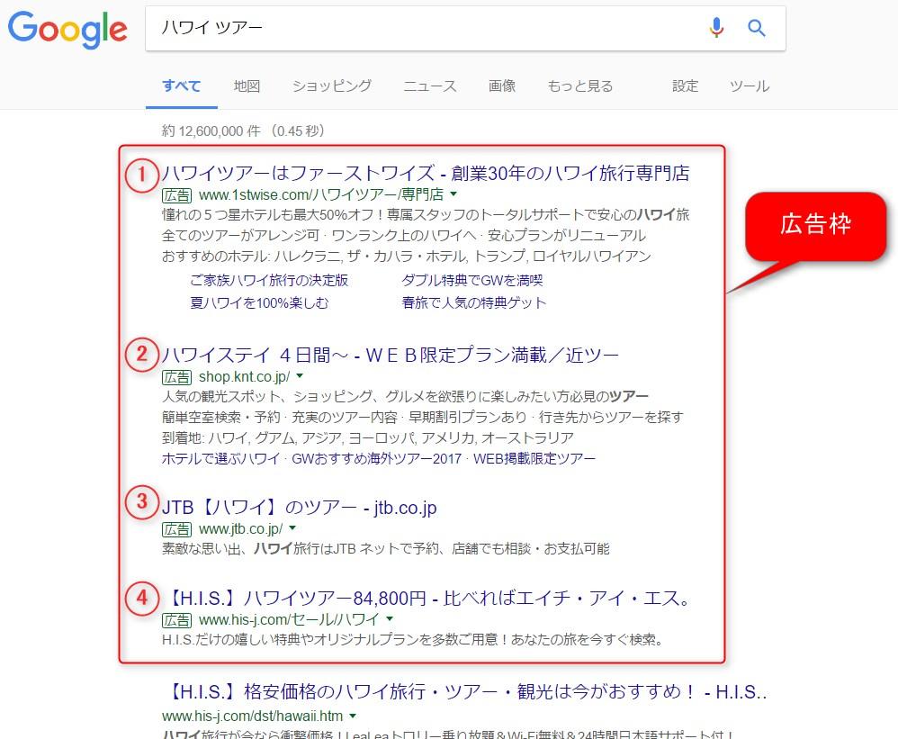 検索連動型広告の例